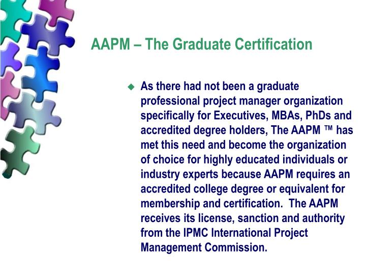 AAPM – The Graduate Certification