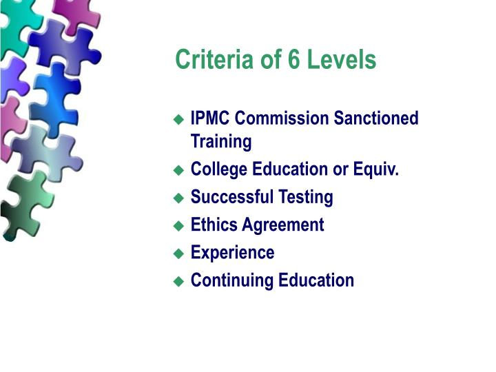 Criteria of 6 Levels