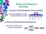 define and sequence activities