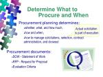 determine what to procure and when