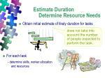 estimate duration determine resource needs