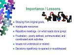 importance lessons