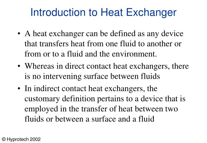 Introduction to heat exchanger