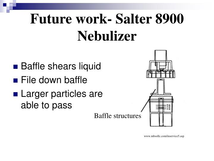 Future work- Salter 8900 Nebulizer
