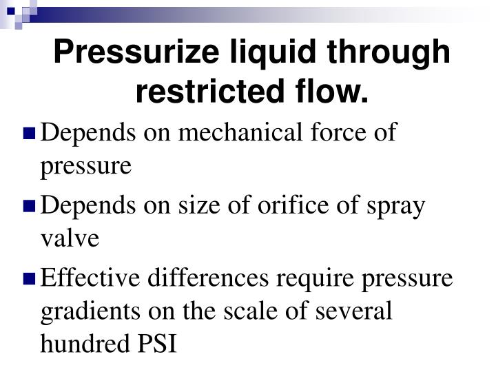 Pressurize liquid through restricted flow.