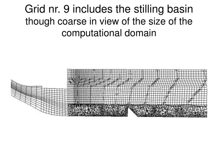 Grid nr. 9 includes the stilling basin