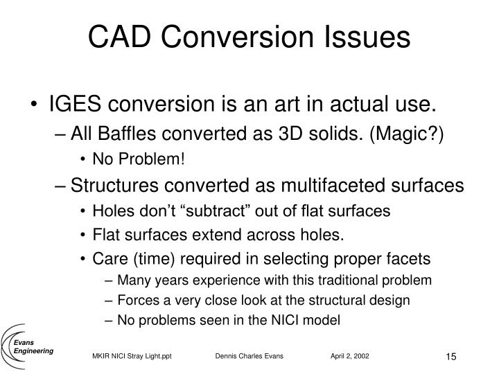 CAD Conversion Issues