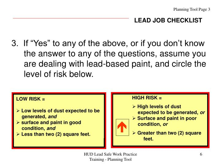 LEAD JOB CHECKLIST
