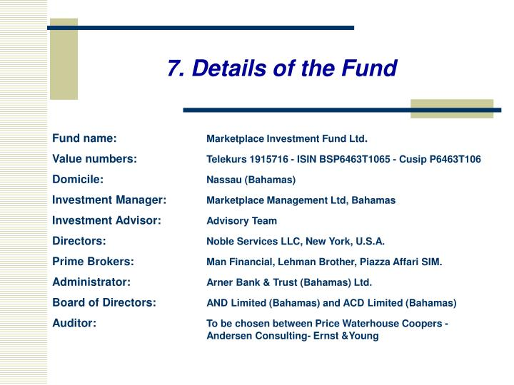 7. Details of the Fund