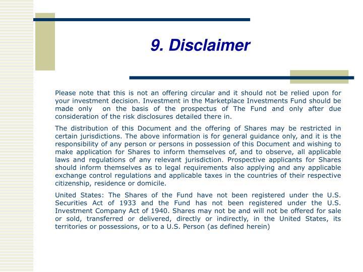 9. Disclaimer