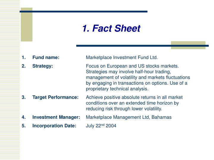 1. Fact Sheet
