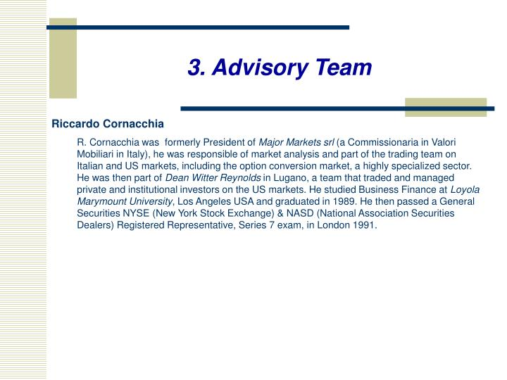 3. Advisory Team