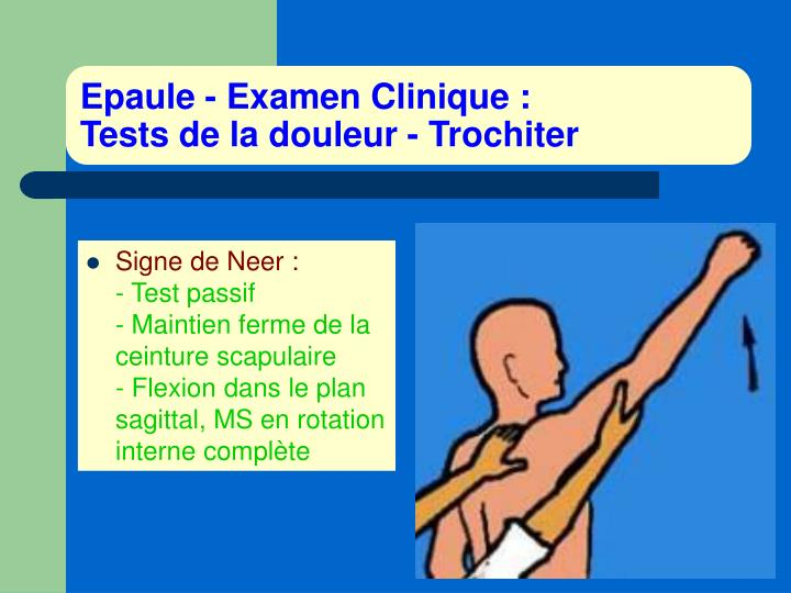 Epaule examen clinique tests de la douleur trochiter