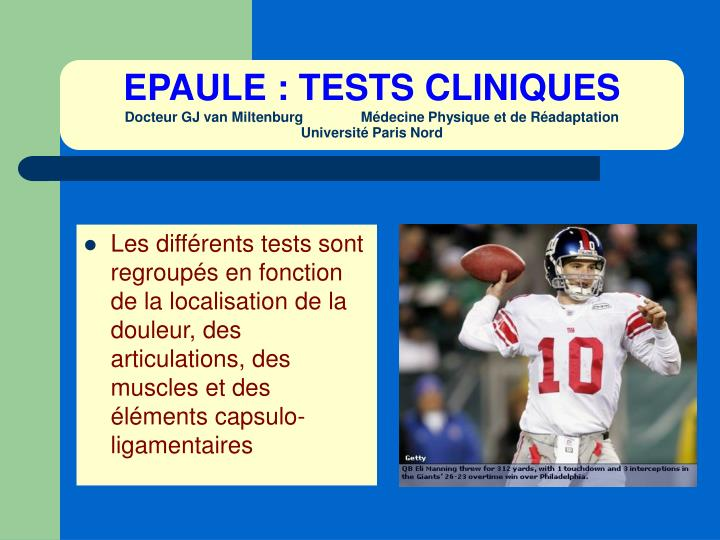 EPAULE : TESTS CLINIQUES