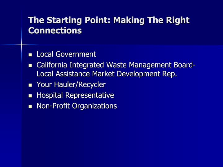 The Starting Point: Making The Right Connections