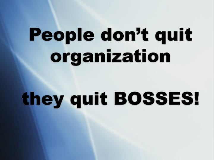 People don't quit organization