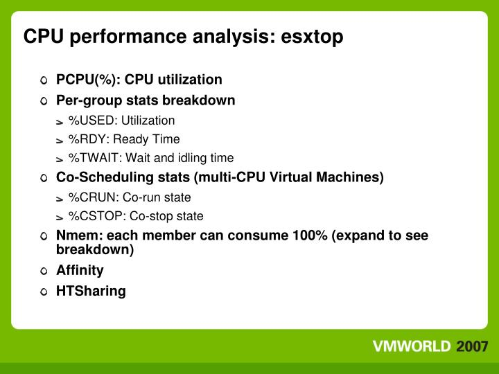 CPU performance analysis: esxtop