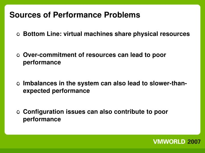 Sources of performance problems