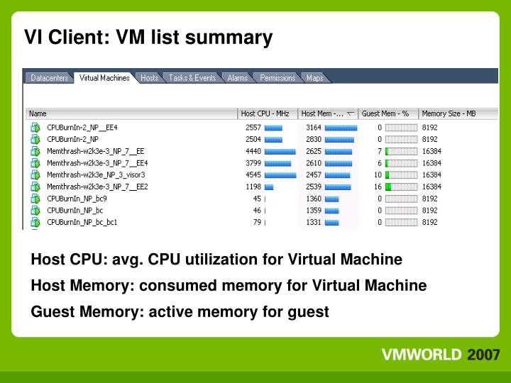 VI Client: VM list summary
