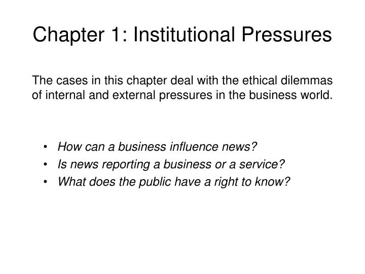 chapter 1 institutional pressures