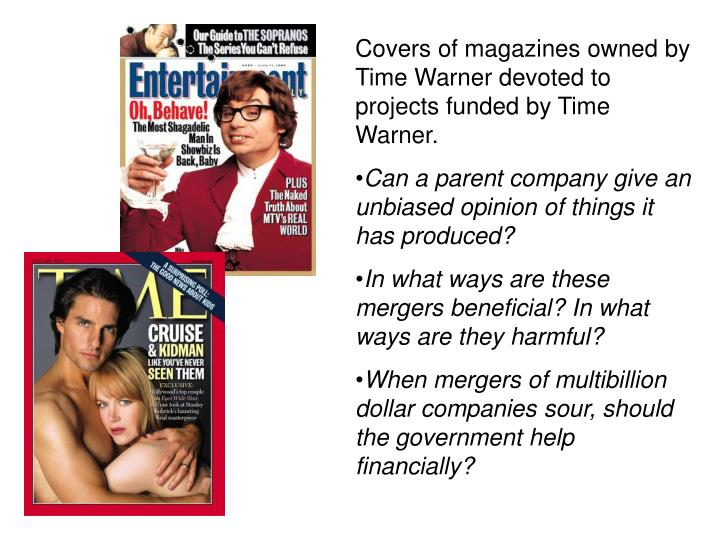 Covers of magazines owned by Time Warner devoted to projects funded by Time Warner.