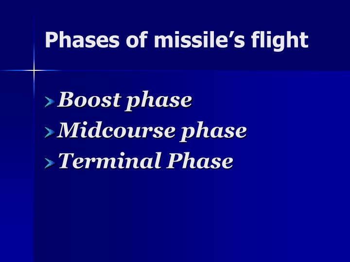 Phases of missile's flight