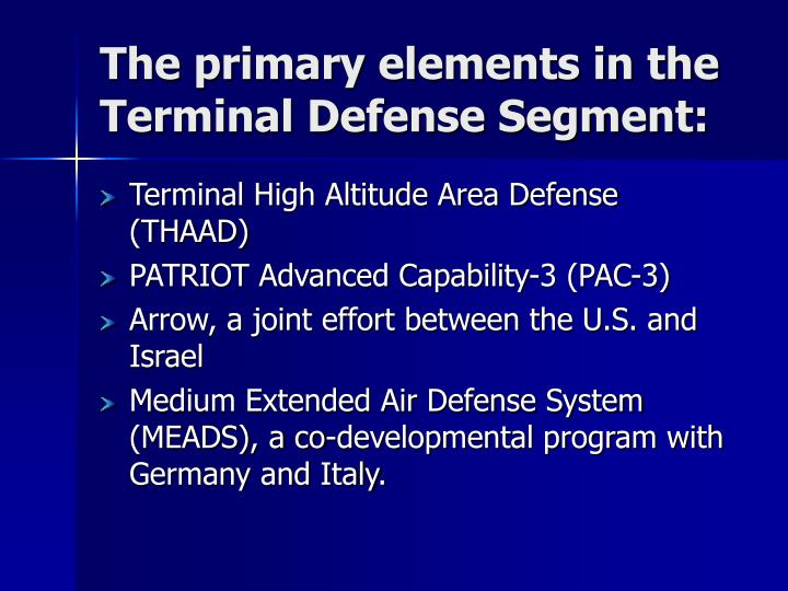 The primary elements in the Terminal Defense Segment: