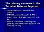 the primary elements in the terminal defense segment