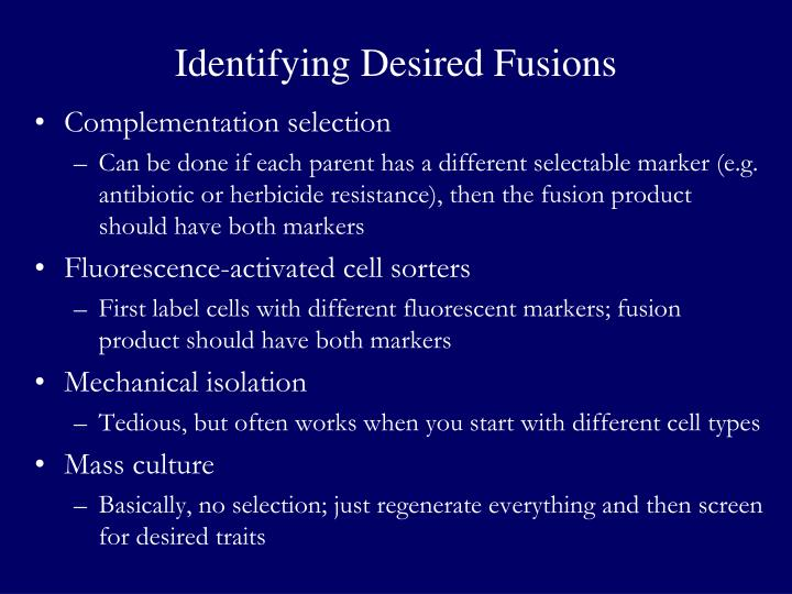 Identifying Desired Fusions
