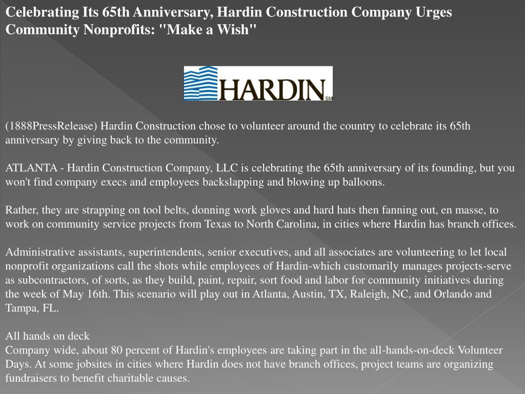 "Celebrating Its 65th Anniversary, Hardin Construction Company Urges Community Nonprofits: ""Make a Wish"""