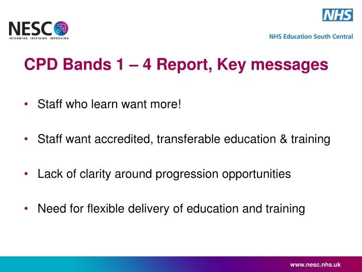 CPD Bands 1 – 4 Report, Key messages