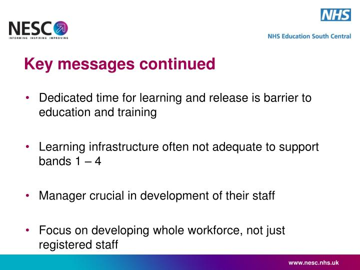 Key messages continued