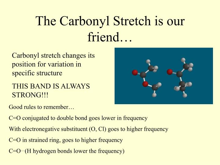 The Carbonyl Stretch is our friend…