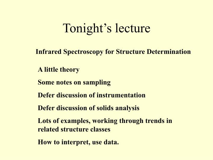 Tonight's lecture