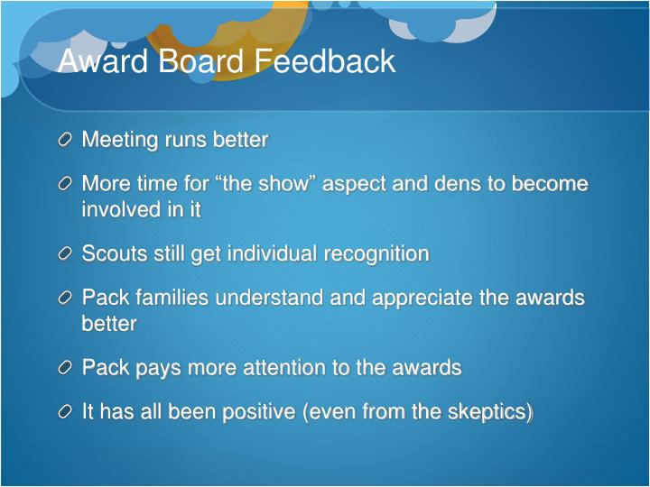 Award Board Feedback