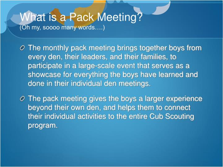 What is a Pack Meeting?