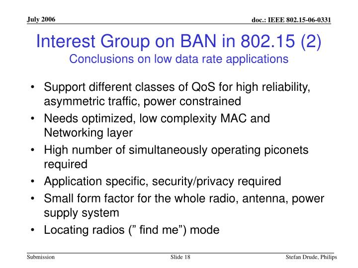 Interest Group on BAN in 802.15 (2)