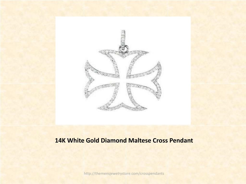 14K White Gold Diamond Maltese Cross Pendant