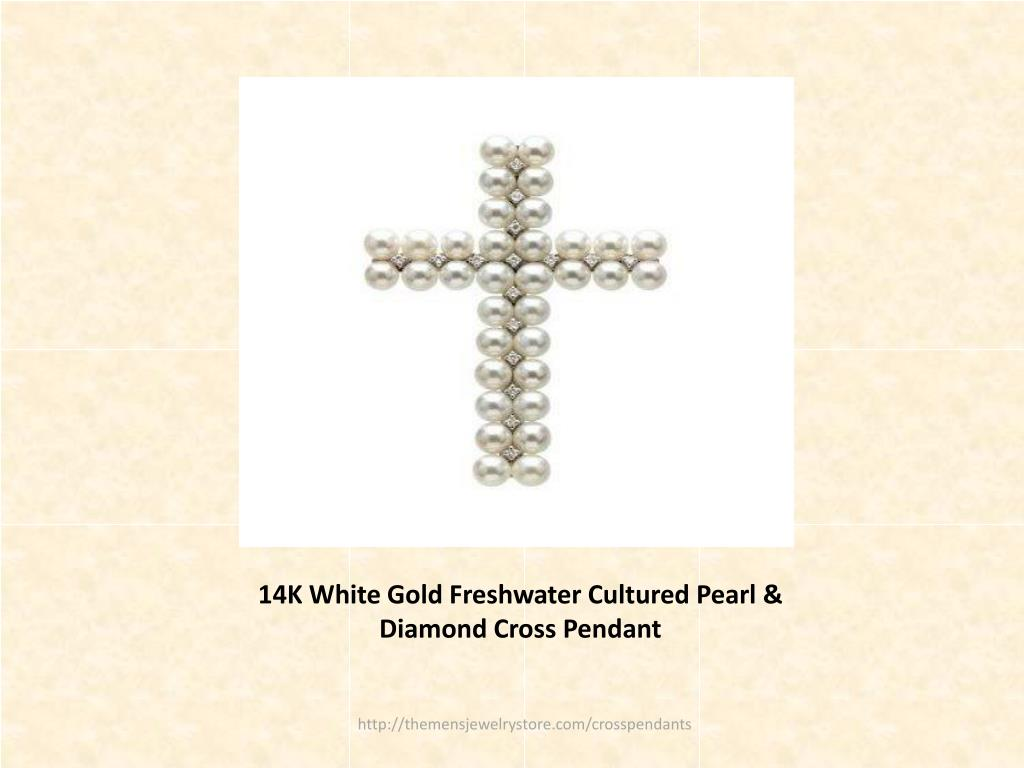 14K White Gold Freshwater Cultured Pearl & Diamond Cross Pendant