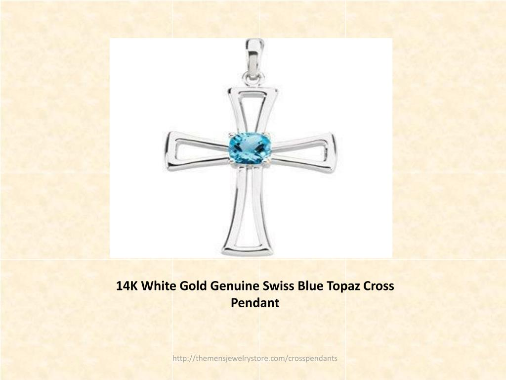 14K White Gold Genuine Swiss Blue Topaz Cross Pendant
