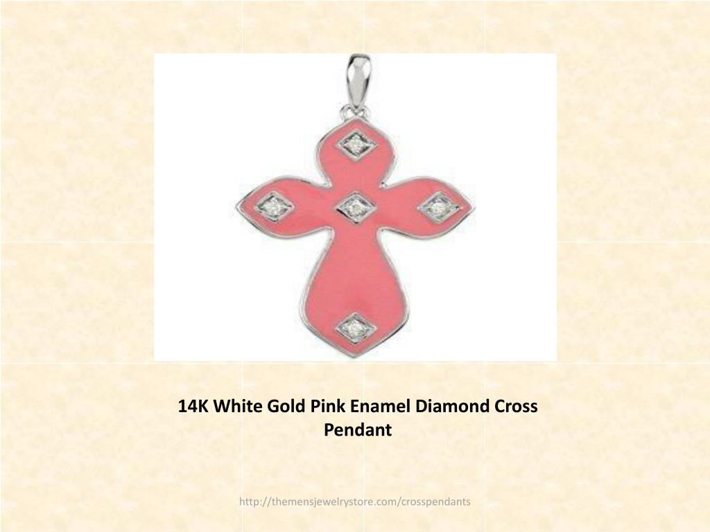 14K White Gold Pink Enamel Diamond Cross Pendant