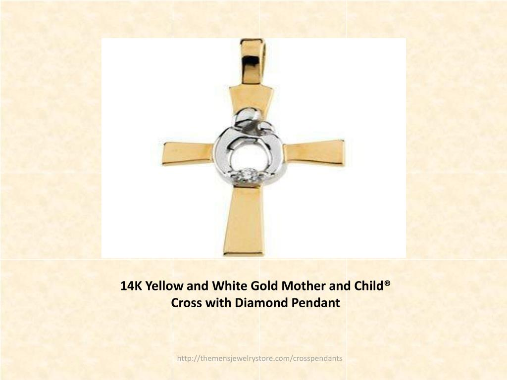 14K Yellow and White Gold Mother and Child® Cross with Diamond Pendant