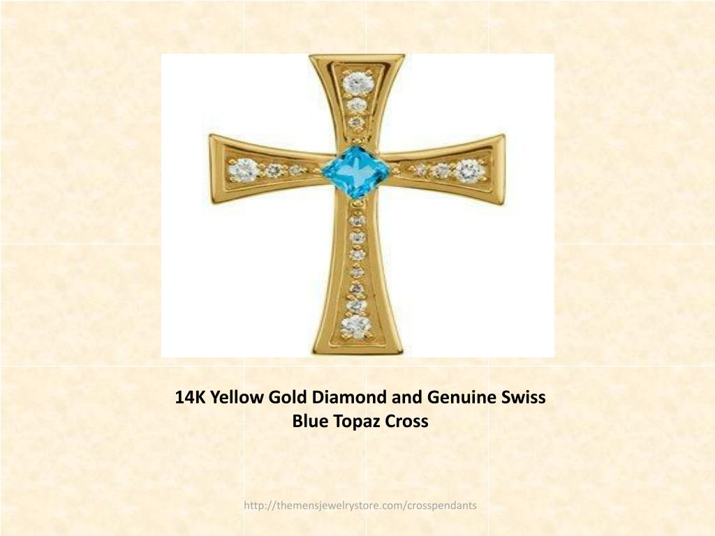 14K Yellow Gold Diamond and Genuine Swiss Blue Topaz Cross