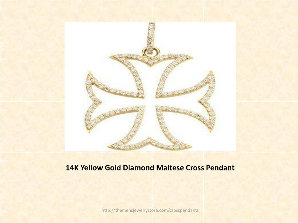 14K Yellow Gold Diamond Maltese Cross Pendant