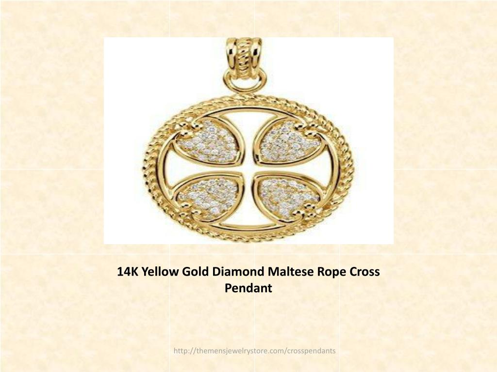 14K Yellow Gold Diamond Maltese Rope Cross Pendant