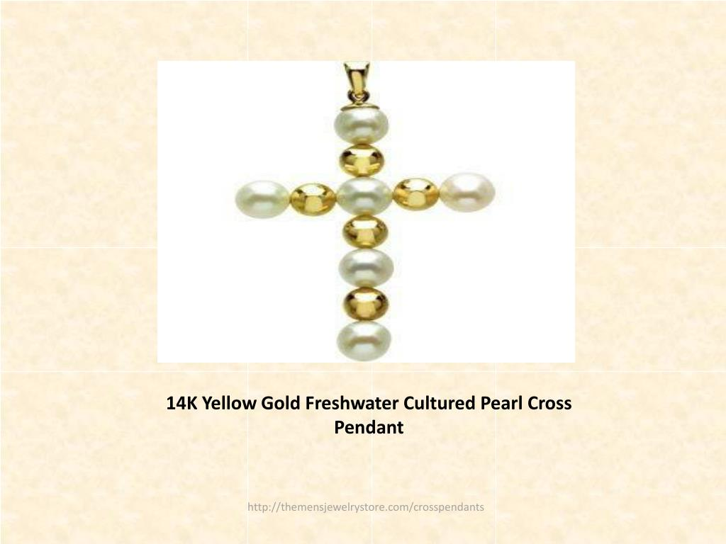 14K Yellow Gold Freshwater Cultured Pearl Cross Pendant
