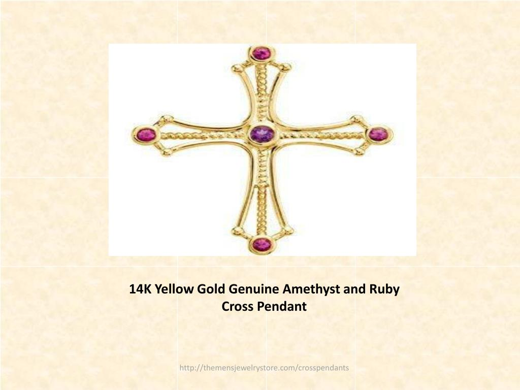 14K Yellow Gold Genuine Amethyst and Ruby Cross Pendant