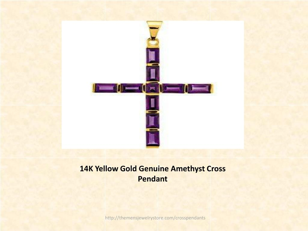 14K Yellow Gold Genuine Amethyst Cross Pendant