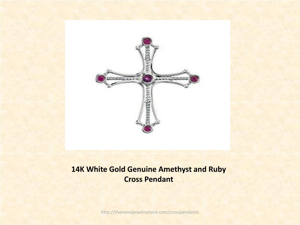 14K White Gold Genuine Amethyst and Ruby Cross Pendant