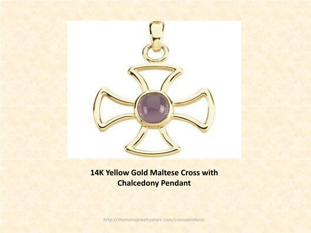 14K Yellow Gold Maltese Cross with Chalcedony Pendant